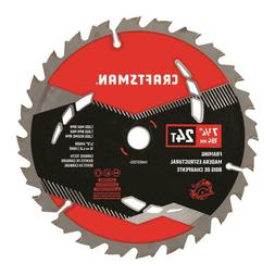 CRAFTSMAN 7-1/4-in 24-Tooth Carbide Circular Saw Blade Home