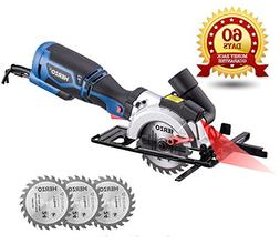 """HERZO Compact Circular Saw 4-1/2"""" with Laser Guide, Max Cutt"""