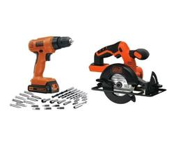 Cordless Drill Driver Circular Saw Kit Bits Lithium Power Ba