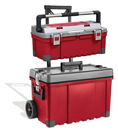Keter 25 Storage Plastic Portable Rolling Tool & Red / Grey