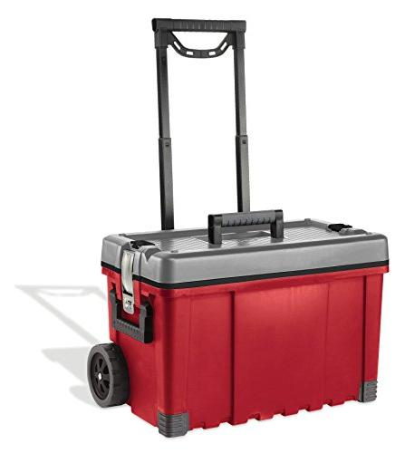 Keter Pro 22 25 in. Plastic Portable Rolling & Utility Cart, Red / Grey