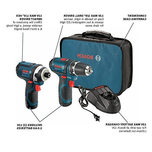 Bosch Power Drill Kit - CLPK22-120, - 12-Volt, Drill Kit Drill, Impact Driver, Set - Drills, Lithium 12V Charger, Contractor