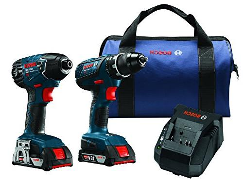 Bosch Power Tools Drill Set – Two Kit– Compact Hex Impact Batteries, Bag Professional Use, HVAC
