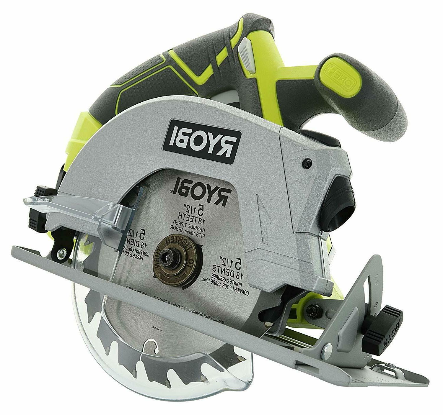 "18V 5.5"" Cordless Circular Saw Laser Guide Carbide-Tipped Bl"