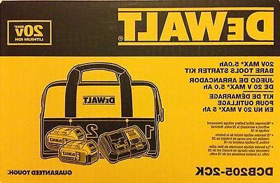 DeWalt dcb205 20-Volt Battery dcb115 Charger Bag DCB205-2CK new