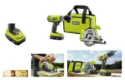 Power Tool Combo Kit w/ Drill Circular Saw Bag Battery & Cha